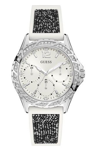 e1a0768b Женские часы GUESS W1096L1 fashion, круглые, белые с камнями и гарантией 24  месяца