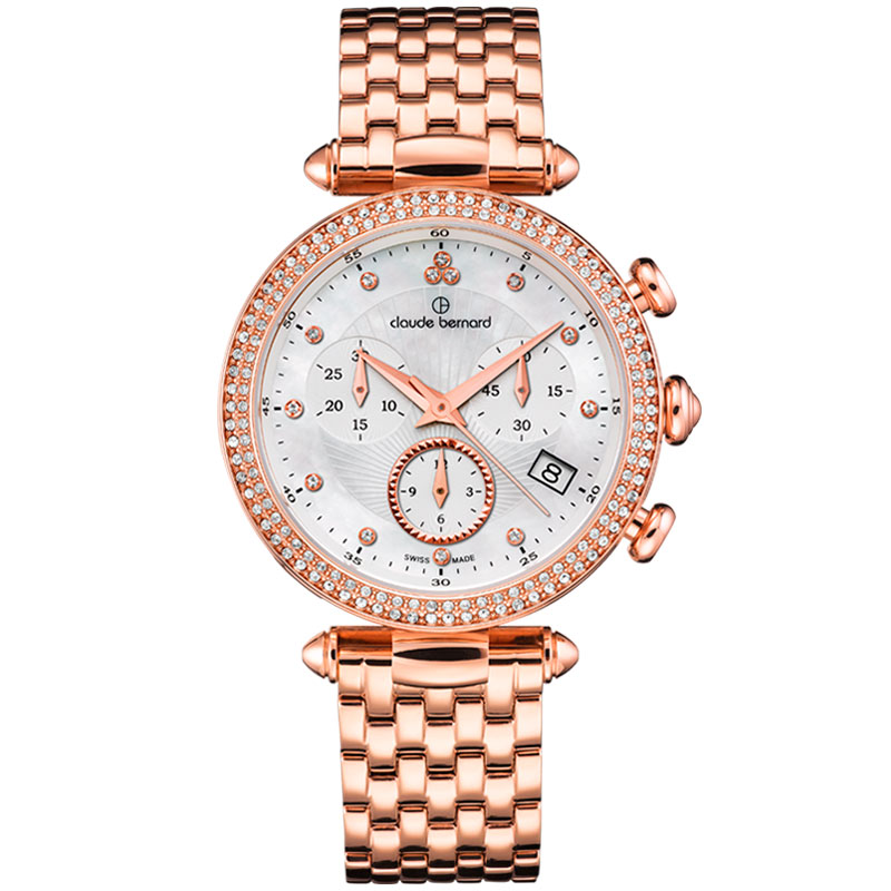 7593afaa Женские часы CLAUDE BERNARD 10230 37RM NAR классические, круглые, металлик  с камнями и гарантией