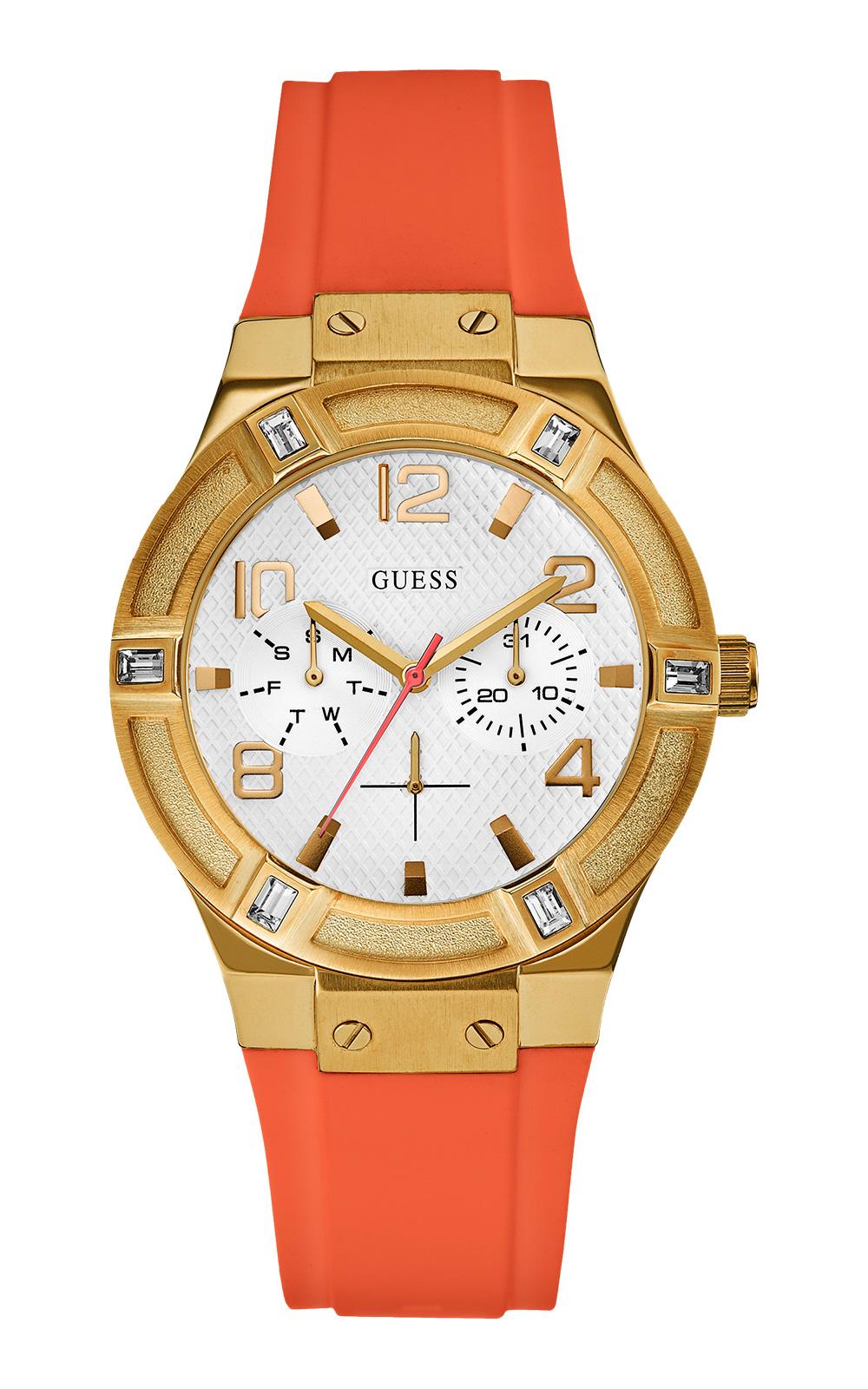 35a4e905c4f5 Женские часы GUESS W0564L2 fashion, круглые, белые с камнями и гарантией 24  месяца