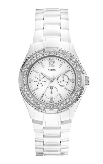 2ced78ea Часы женские Guess W0062L7 спортивные, круглые, белые с камнями и гарантией  24 месяца